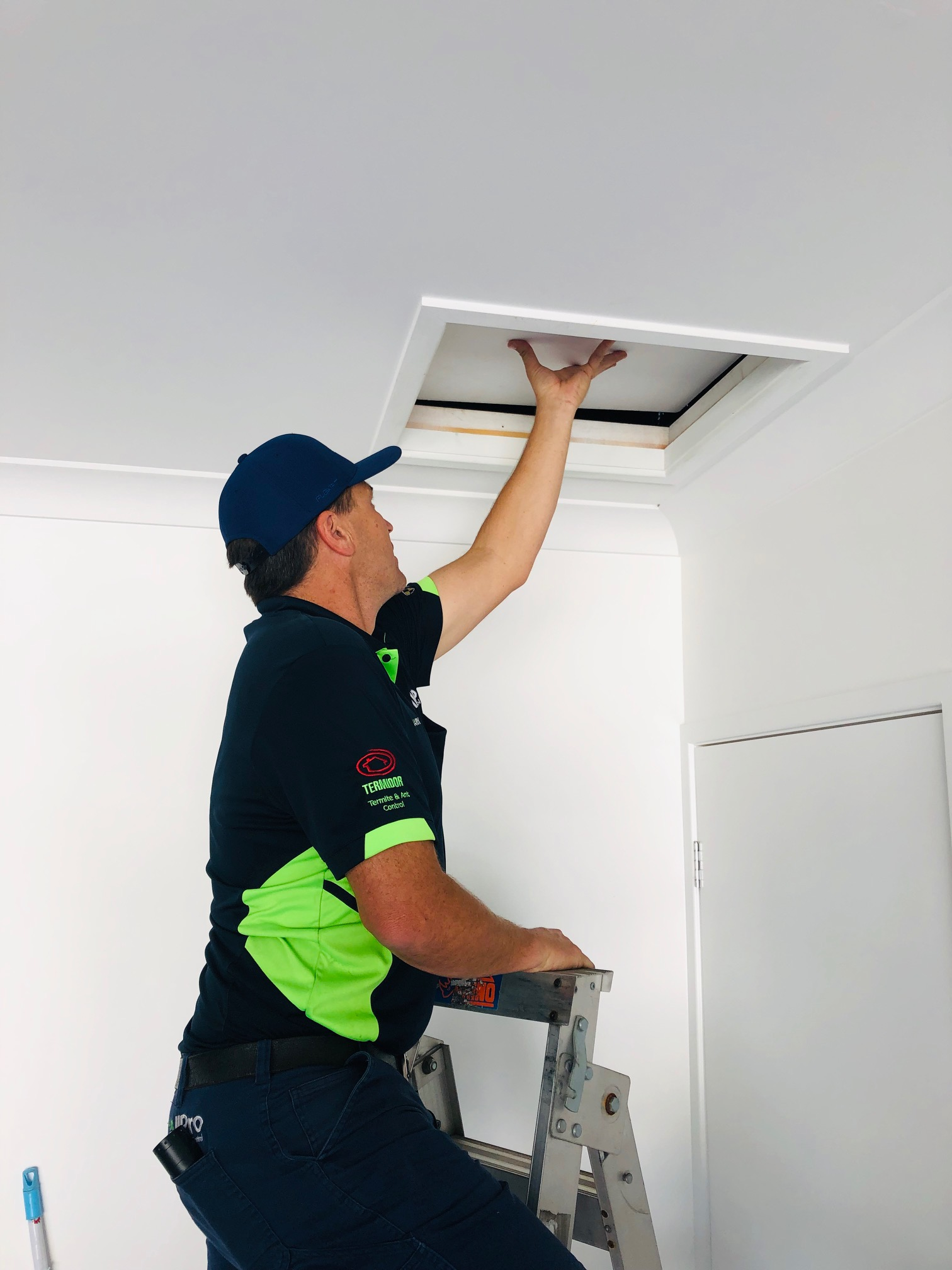 Entering the roof void as part of a pest control treatment